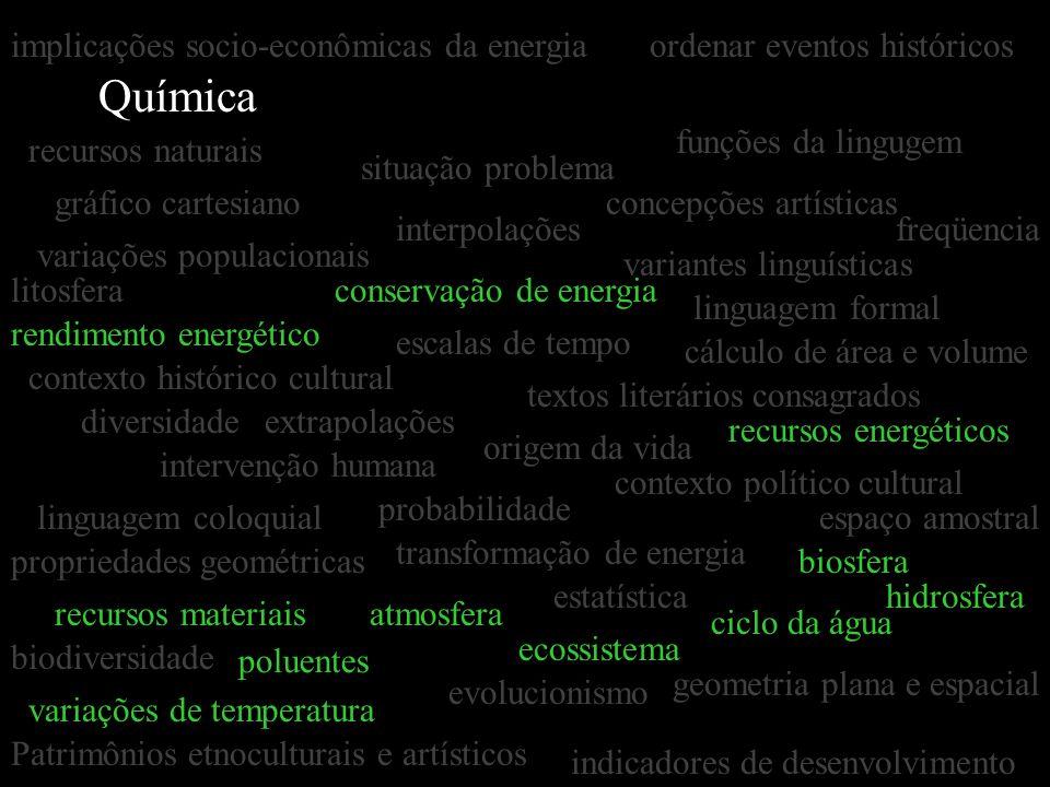 Química gráfico cartesiano estatística interpolações extrapolações concepções artísticas textos literários consagrados situação problema linguagem for