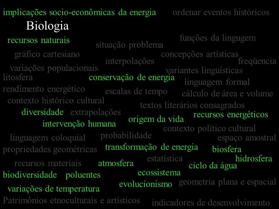 Biologia gráfico cartesiano estatística interpolações extrapolações concepções artísticas textos literários consagrados situação problema linguagem fo
