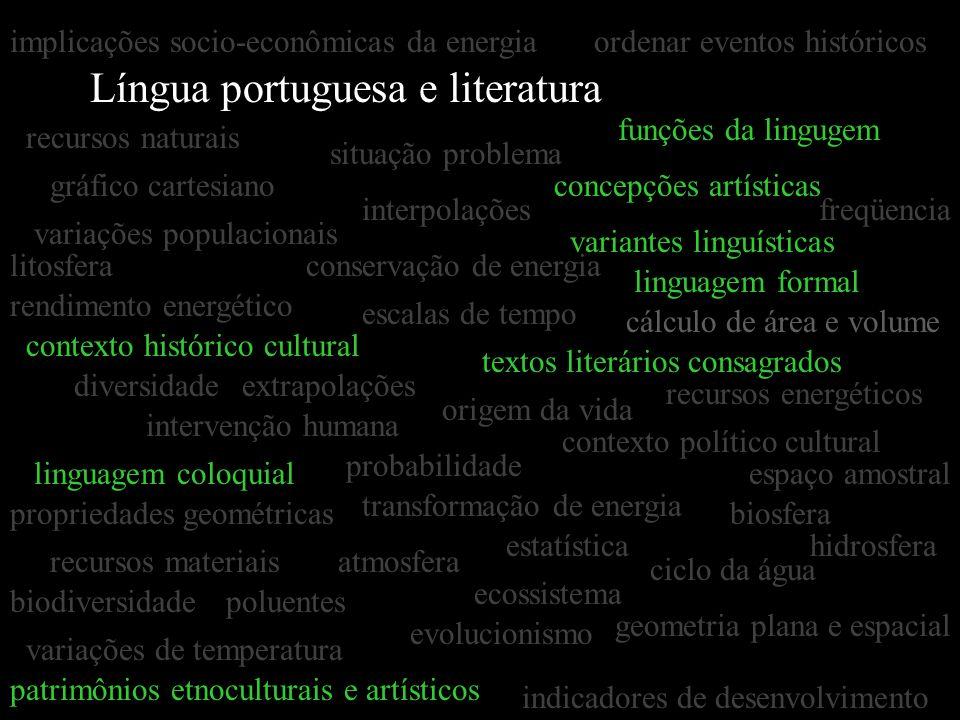 Língua portuguesa e literatura gráfico cartesiano estatística interpolações extrapolações concepções artísticas textos literários consagrados situação
