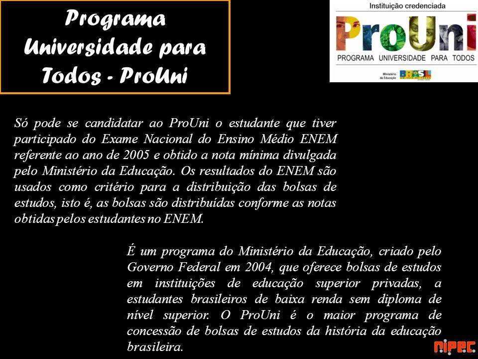 Programa Universidade para Todos - ProUni É um programa do Ministério da Educação, criado pelo Governo Federal em 2004, que oferece bolsas de estudos