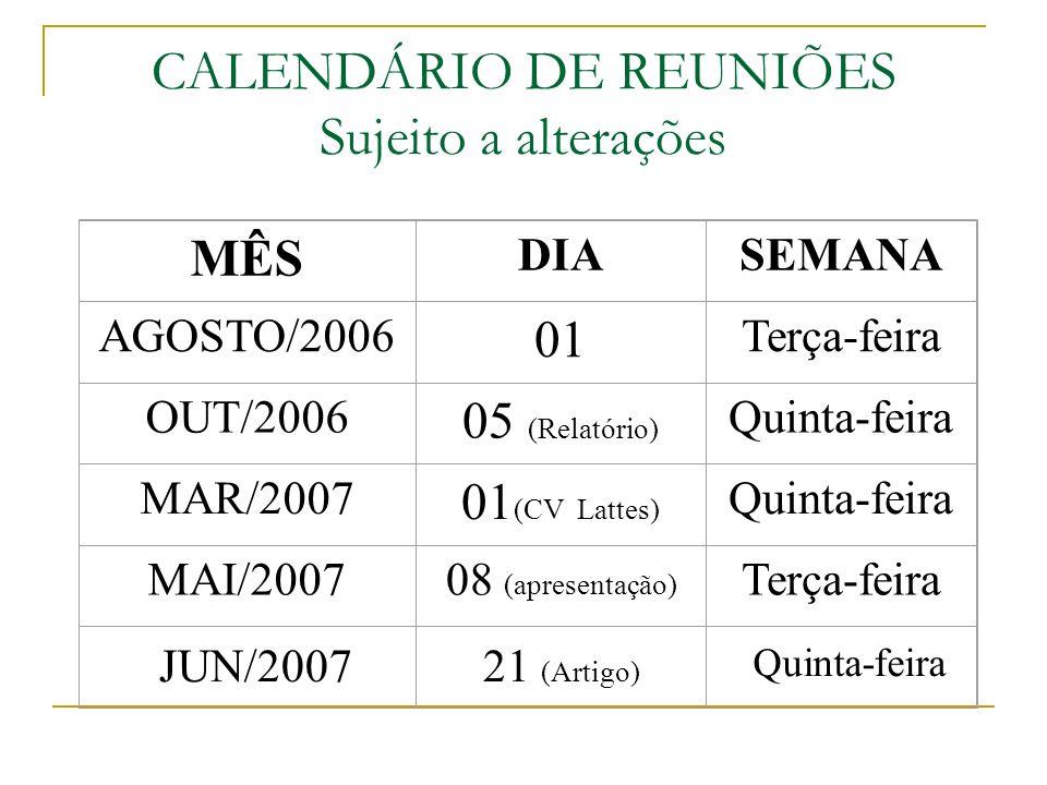 CALENDÁRIO DE REUNIÕES Sujeito a alterações MÊS DIASEMANA AGOSTO/2006 01 Terça-feira OUT/2006 05 (Relatório) Quinta-feira MAR/2007 01 (CV Lattes) Quinta-feira MAI/200708 (apresentação) Terça-feira JUN/200721 (Artigo) Quinta-feira