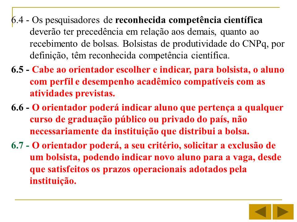 6.4 - Os pesquisadores de reconhecida competência científica deverão ter precedência em relação aos demais, quanto ao recebimento de bolsas. Bolsistas