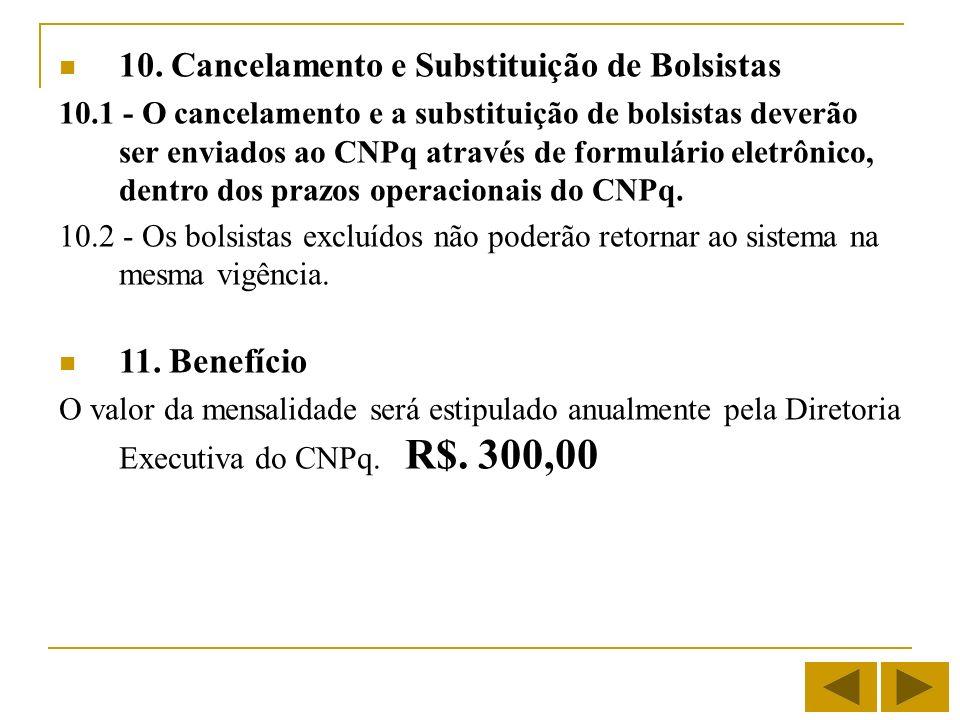 10. Cancelamento e Substituição de Bolsistas 10.1 - O cancelamento e a substituição de bolsistas deverão ser enviados ao CNPq através de formulário el