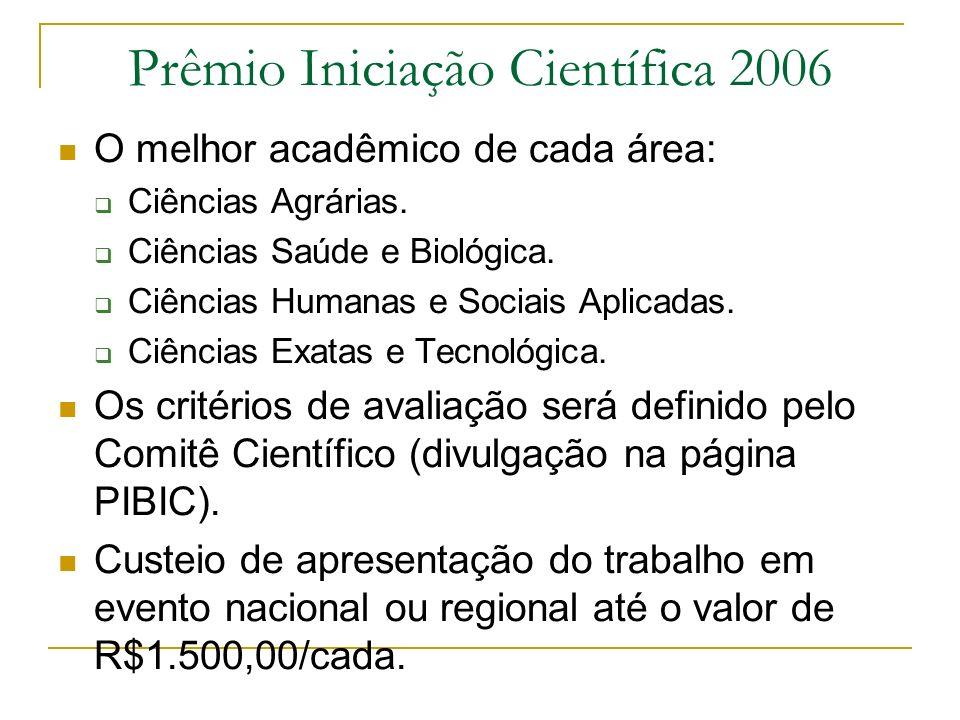 Prêmio Iniciação Científica 2006 O melhor acadêmico de cada área: Ciências Agrárias. Ciências Saúde e Biológica. Ciências Humanas e Sociais Aplicadas.
