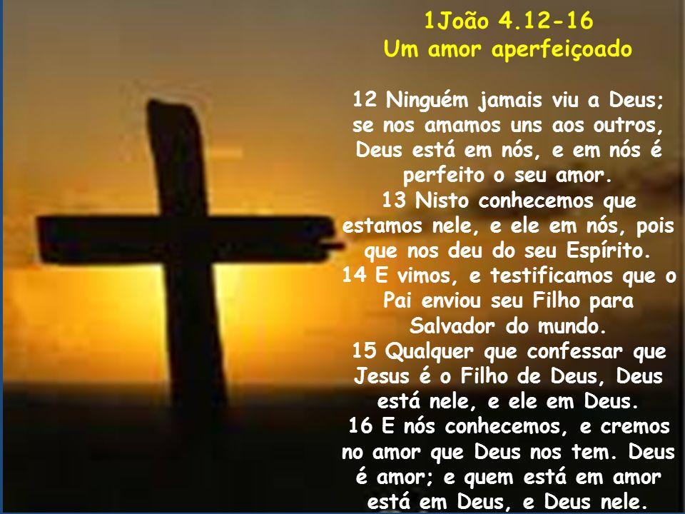 1João 4.12-16 Um amor aperfeiçoado 12 Ninguém jamais viu a Deus; se nos amamos uns aos outros, Deus está em nós, e em nós é perfeito o seu amor. 13 Ni