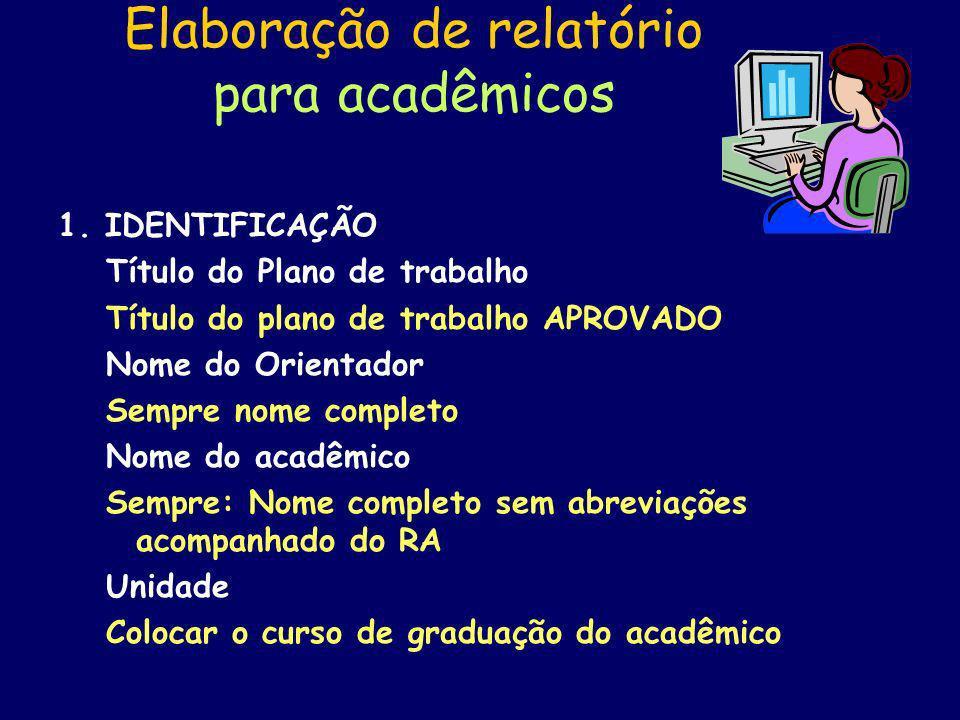 Elaboração de relatório para acadêmicos 2.