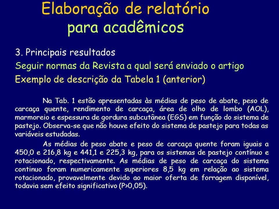 Elaboração de relatório para acadêmicos 4.