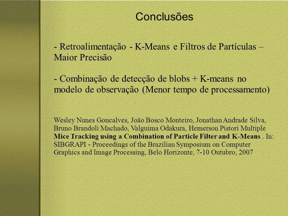 Conclusões - Retroalimentação - K-Means e Filtros de Partículas – Maior Precisão - Combinação de detecção de blobs + K-means no modelo de observação (Menor tempo de processamento) Wesley Nunes Goncalves, João Bosco Monteiro, Jonathan Andrade Silva, Bruno Brandoli Machado, Valguima Odakura, Hemerson Pistori Multiple Mice Tracking using a Combination of Particle Filter and K-Means.