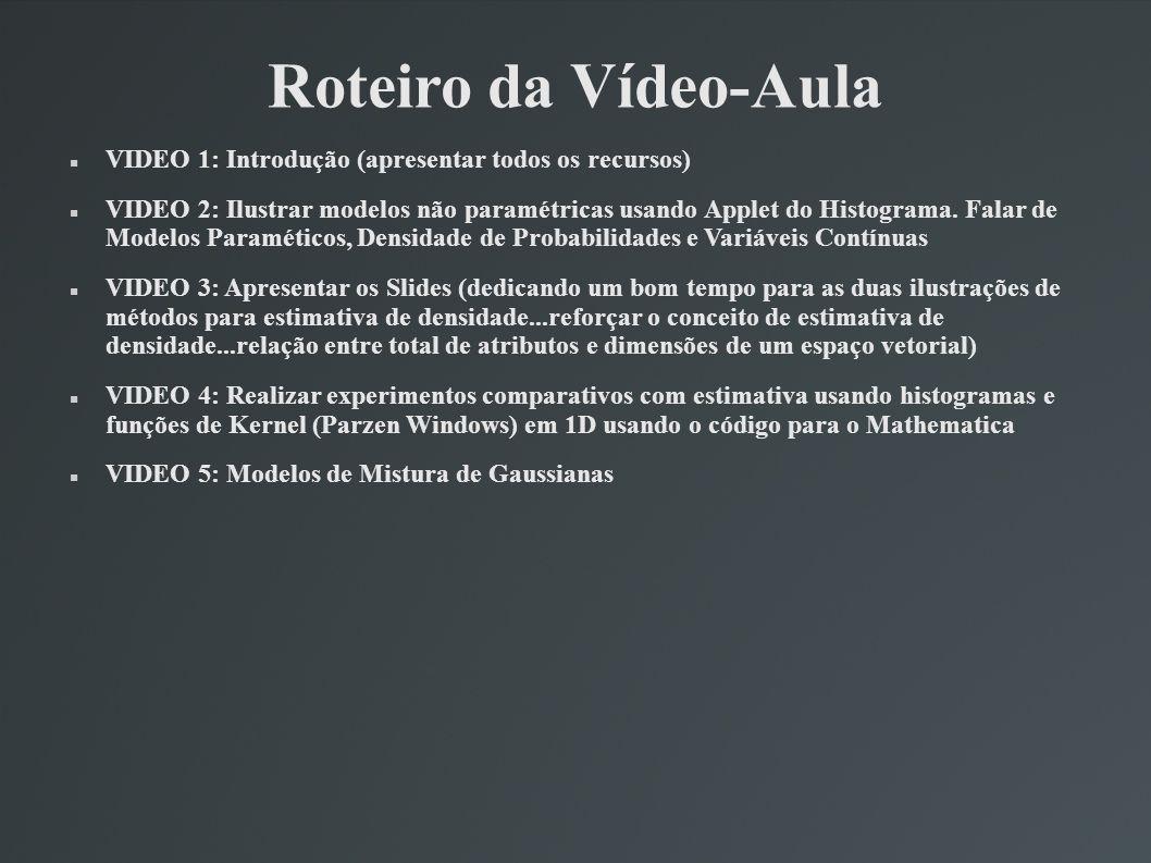 Roteiro da Vídeo-Aula VIDEO 1: Introdução (apresentar todos os recursos) VIDEO 2: Ilustrar modelos não paramétricas usando Applet do Histograma. Falar