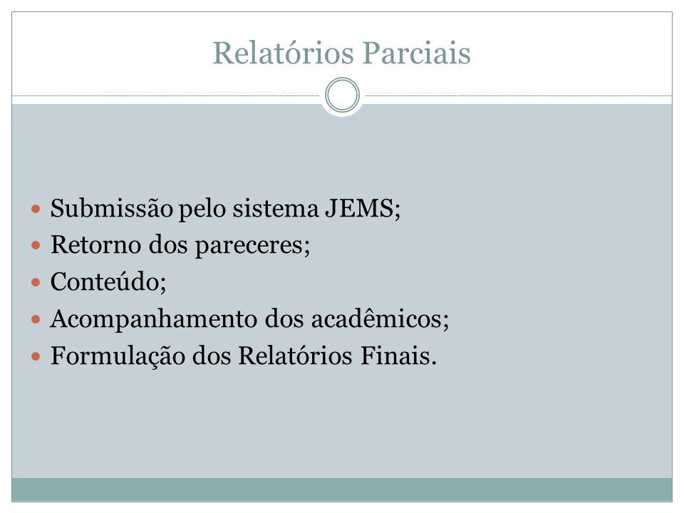 Relatórios Parciais Submissão pelo sistema JEMS; Retorno dos pareceres; Conteúdo; Acompanhamento dos acadêmicos; Formulação dos Relatórios Finais.