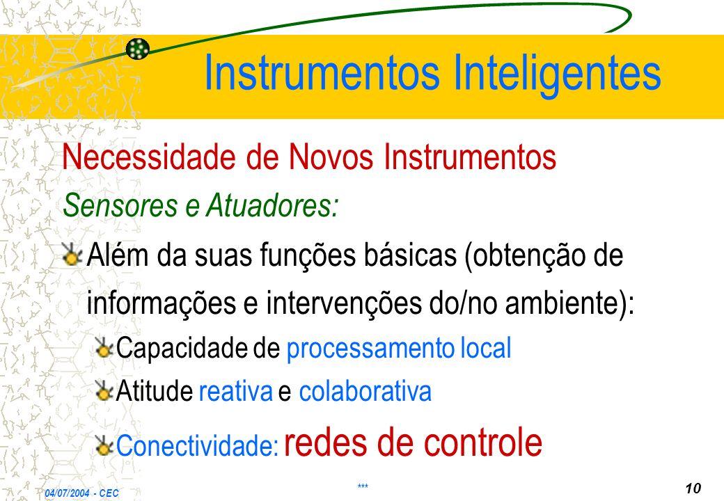 Instrumentos Inteligentes Necessidade de Novos Instrumentos Sensores e Atuadores: Além da suas funções básicas (obtenção de informações e intervenções do/no ambiente): Capacidade de processamento local Atitude reativa e colaborativa Conectividade: redes de controle 04/07/2004 - CEC *** 10
