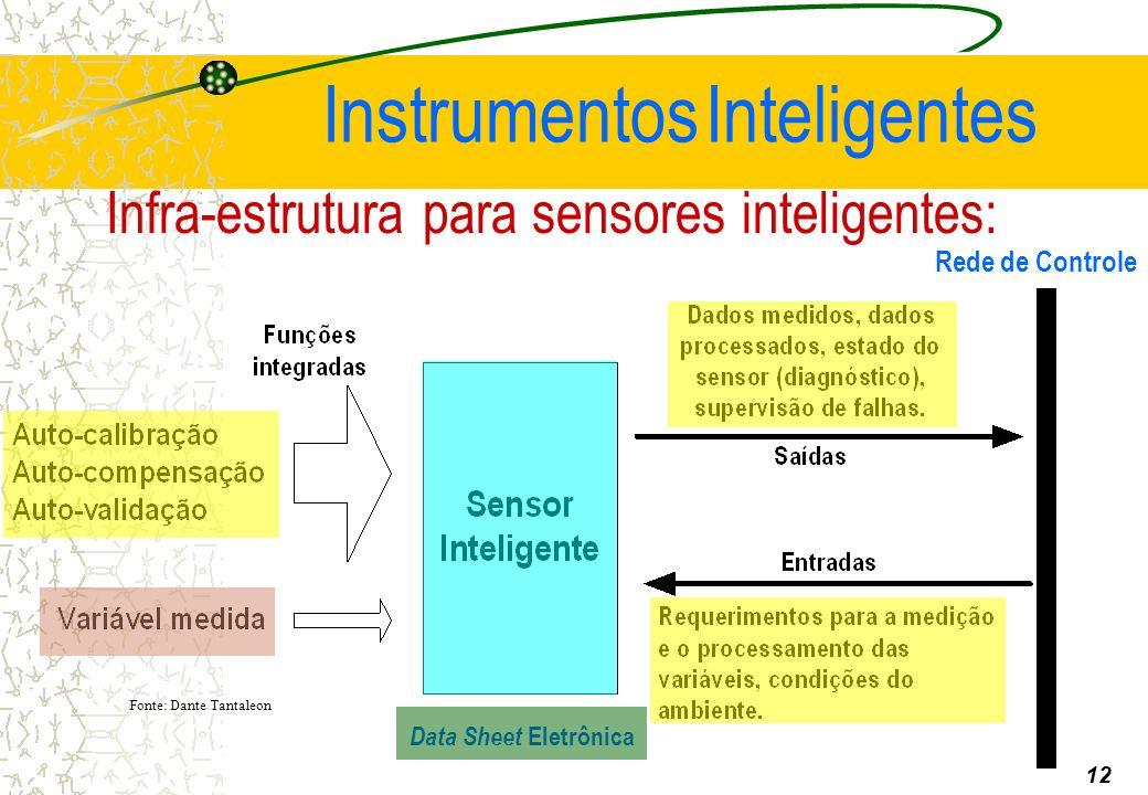 Infra-estrutura para sensores inteligentes: 12 Fonte: Dante Tantaleon Rede de Controle Instrumentos Inteligentes Data Sheet Eletrônica