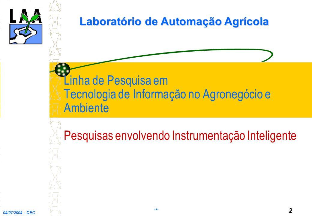 Linha de Pesquisa em Tecnologia de Informação no Agronegócio e Ambiente Pesquisas envolvendo Instrumentação Inteligente Laboratório de Automação Agrícola 04/07/2004 - CEC *** 2