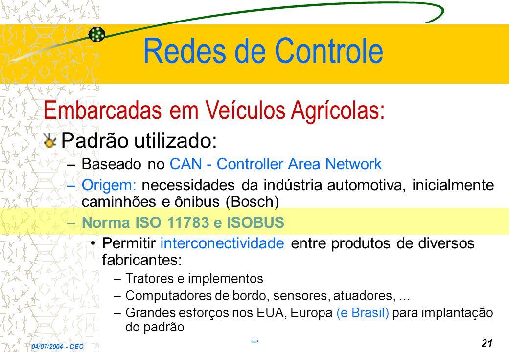 Redes de Controle Embarcadas em Veículos Agrícolas: Padrão utilizado: – –Baseado no CAN - Controller Area Network – –Origem: necessidades da indústria