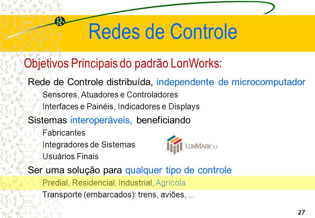Objetivos Principais do padrão LonWorks: Rede de Controle distribuída, independente de microcomputador Sensores, Atuadores e Controladores Interfaces e Painéis, Indicadores e Displays Sistemas interoperáveis, beneficiando Fabricantes Integradores de Sistemas Usuários Finais Ser uma solução para qualquer tipo de controle Predial, Residencial, Industrial, Agrícola Transporte (embarcados): trens, aviões, … Redes de Controle 27