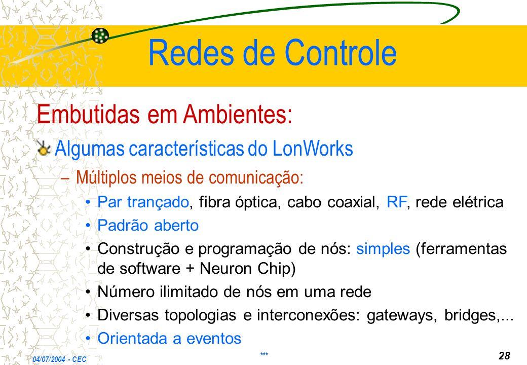 Redes de Controle Embutidas em Ambientes: Algumas características do LonWorks – –Múltiplos meios de comunicação: Par trançado, fibra óptica, cabo coax