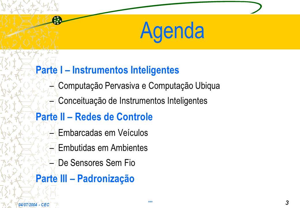 Agenda Parte I – Instrumentos Inteligentes –Computação Pervasiva e Computação Ubiqua –Conceituação de Instrumentos Inteligentes Parte II – Redes de Controle –Embarcadas em Veículos –Embutidas em Ambientes –De Sensores Sem Fio Parte III – Padronização 04/07/2004 - CEC *** 3
