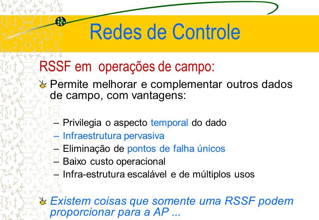 RSSF em operações de campo: Permite melhorar e complementar outros dados de campo, com vantagens: –Privilegia o aspecto temporal do dado –Infraestrutu