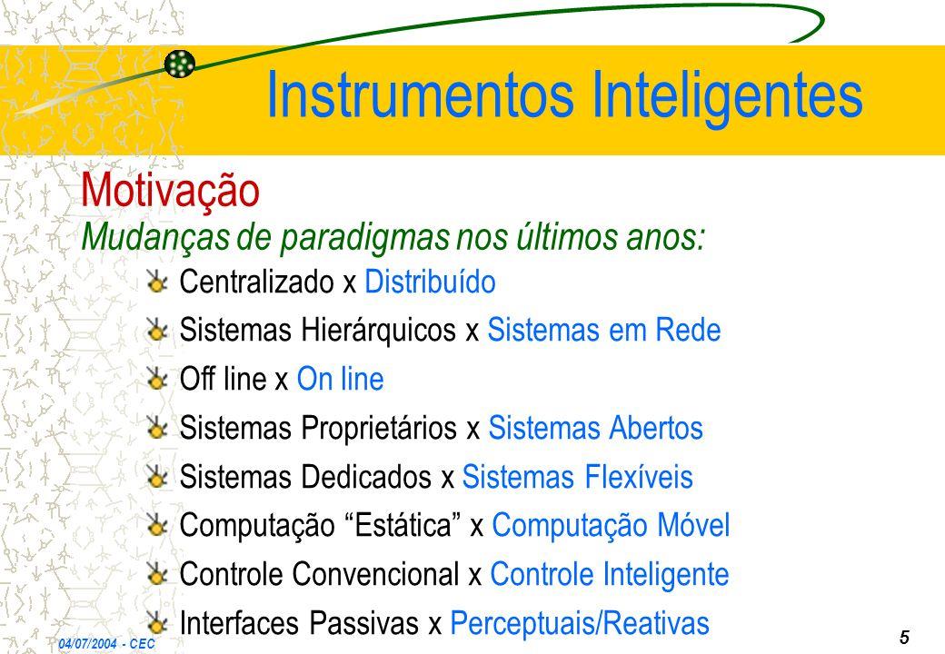 Instrumentos Inteligentes 04/07/2004 - CEC 5 Motivação Mudanças de paradigmas nos últimos anos: Centralizado x Distribuído Sistemas Hierárquicos x Sis