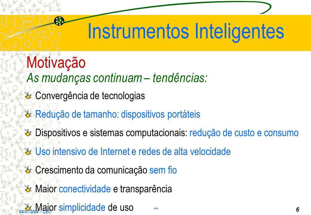 04/07/2004 - CEC Instrumentos Inteligentes Convergência de tecnologias Redução de tamanho: dispositivos portáteis Dispositivos e sistemas computaciona