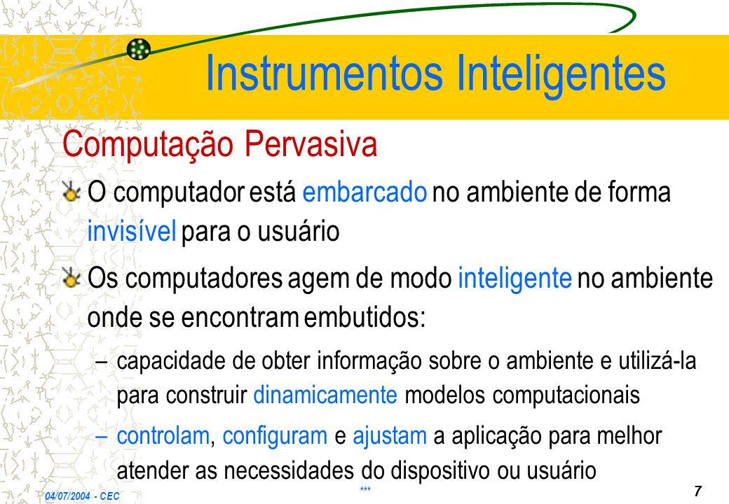 Instrumentos Inteligentes Computação Pervasiva O computador está embarcado no ambiente de forma invisível para o usuário Os computadores agem de modo