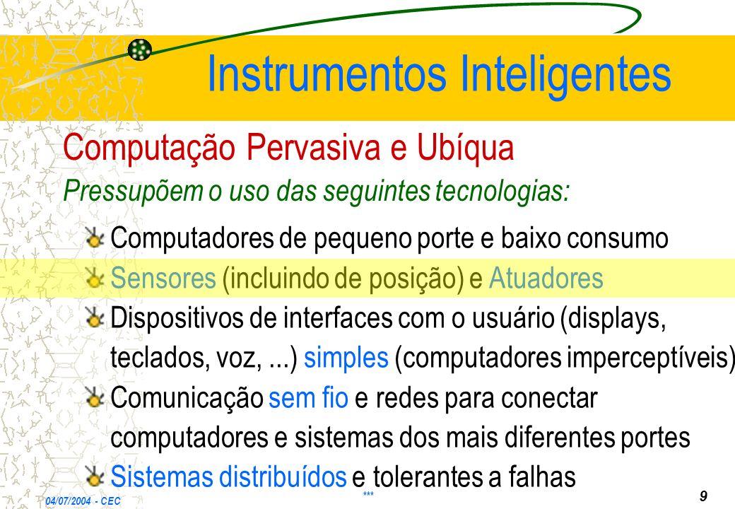 Instrumentos Inteligentes Computadores de pequeno porte e baixo consumo Sensores (incluindo de posição) e Atuadores Dispositivos de interfaces com o u