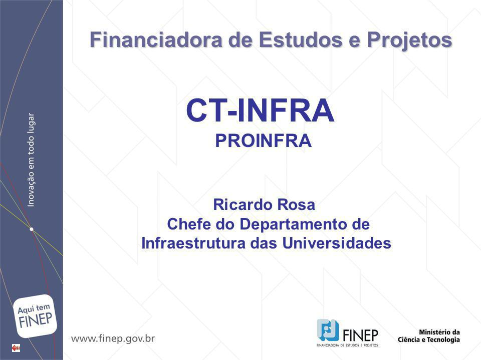 Ricardo Rosa Chefe do Departamento de Infraestrutura das Universidades CT-INFRA PROINFRA Financiadora de Estudos e Projetos