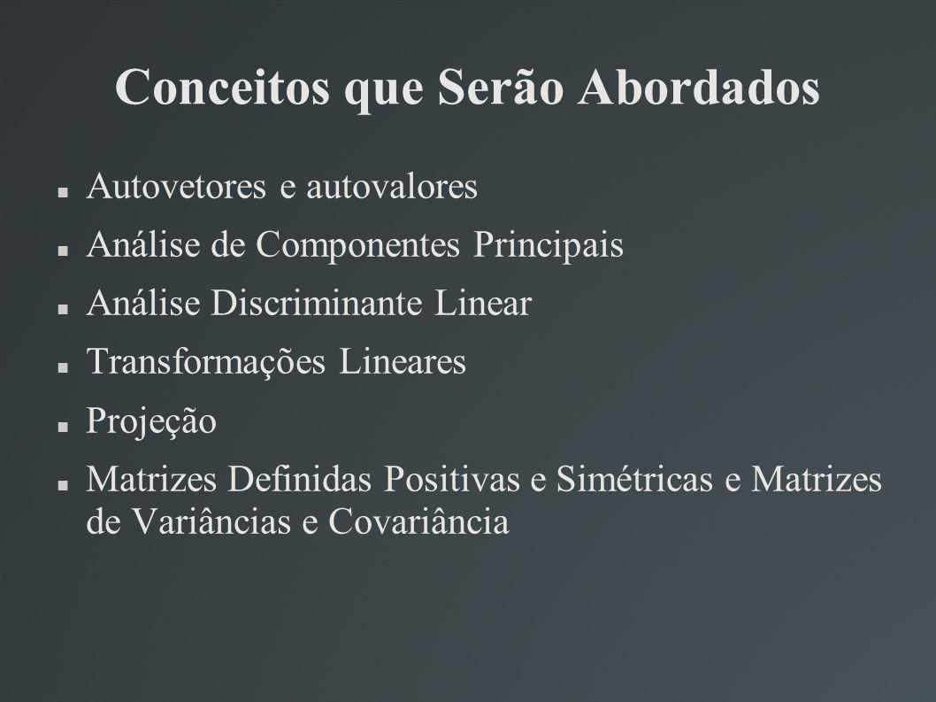 Conceitos que Serão Abordados Autovetores e autovalores Análise de Componentes Principais Análise Discriminante Linear Transformações Lineares Projeçã