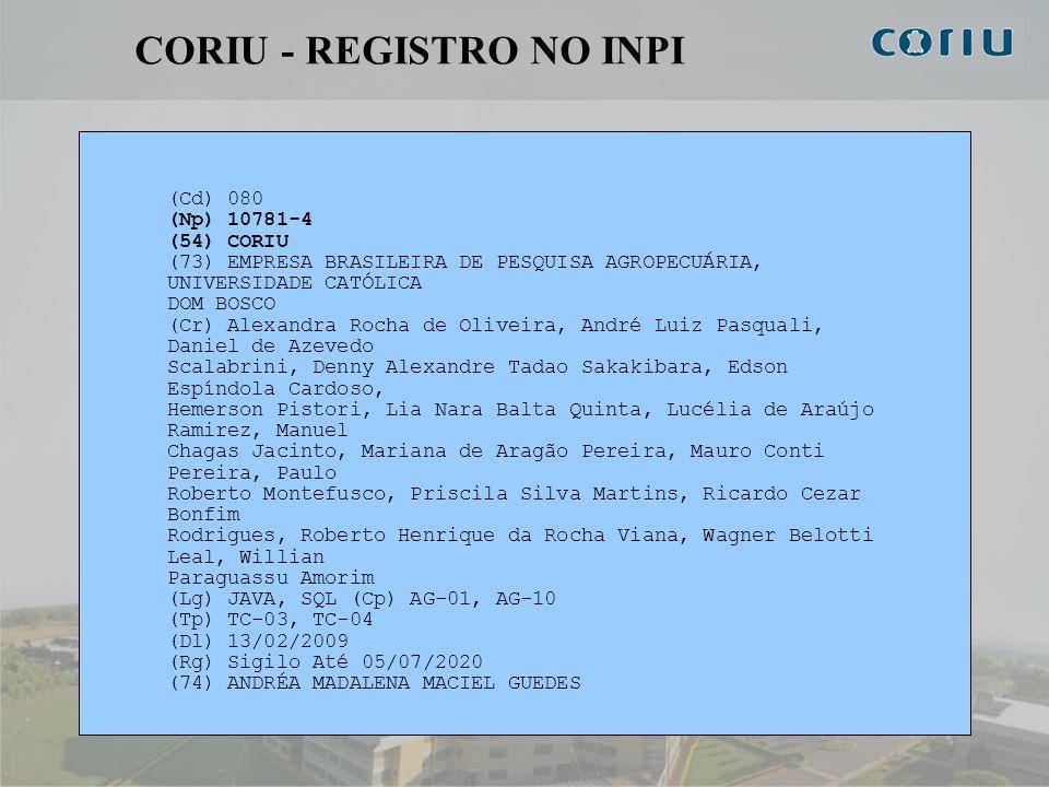 11 CORIU - REGISTRO NO INPI (Cd) 080 (Np) 10781-4 (54) CORIU (73) EMPRESA BRASILEIRA DE PESQUISA AGROPECUÁRIA, UNIVERSIDADE CATÓLICA DOM BOSCO (Cr) Al