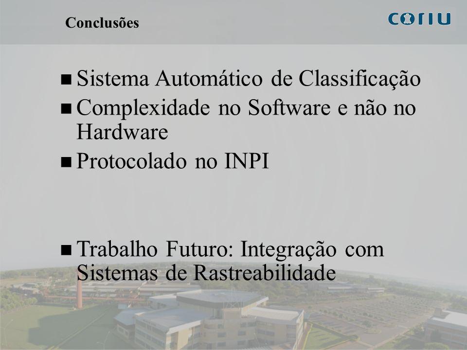 14 Conclusões Sistema Automático de Classificação Complexidade no Software e não no Hardware Protocolado no INPI Trabalho Futuro: Integração com Siste