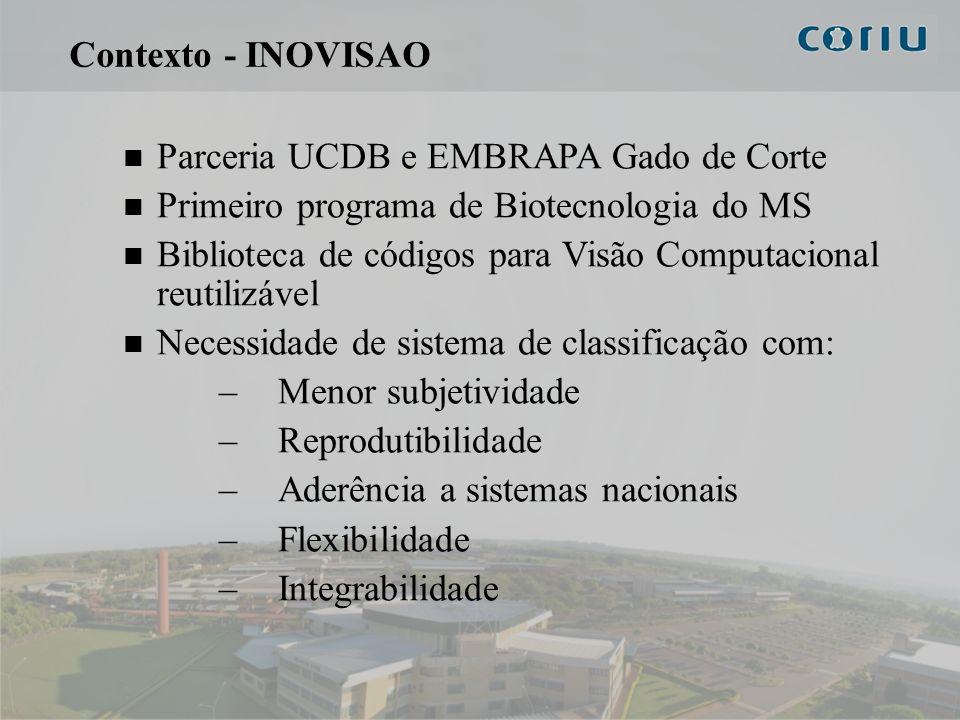 4 Contexto - INOVISAO Parceria UCDB e EMBRAPA Gado de Corte Primeiro programa de Biotecnologia do MS Biblioteca de códigos para Visão Computacional re