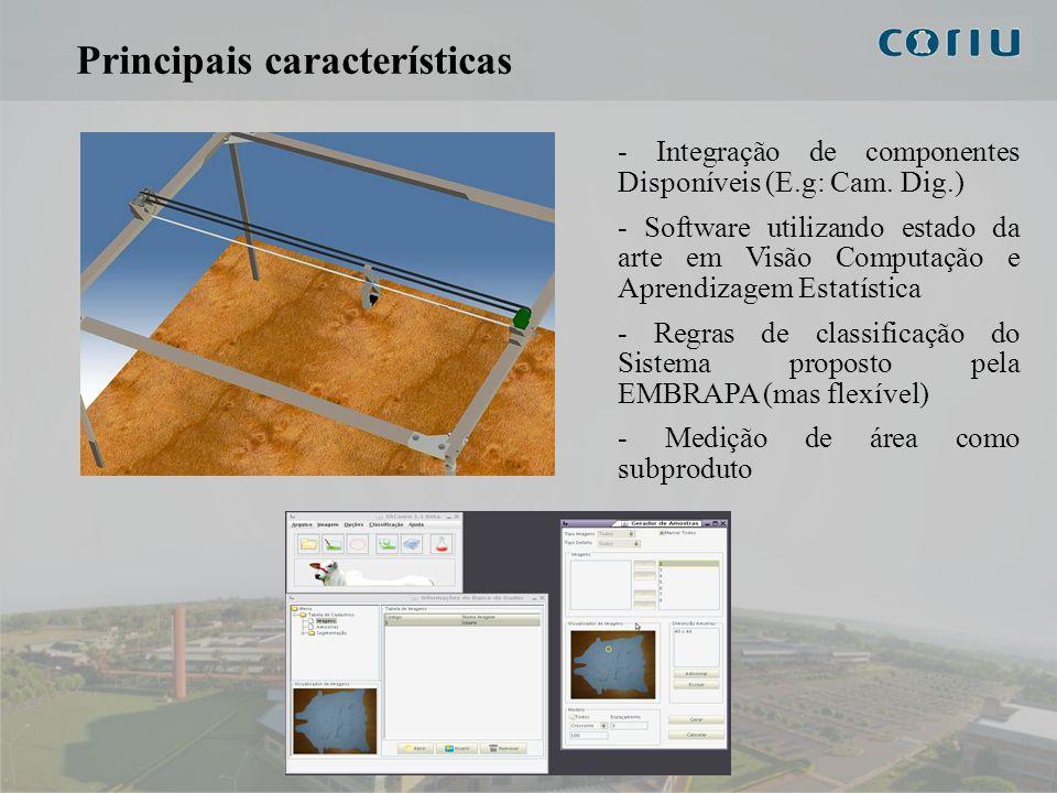 5 Principais características - Integração de componentes Disponíveis (E.g: Cam. Dig.) - Software utilizando estado da arte em Visão Computação e Apren