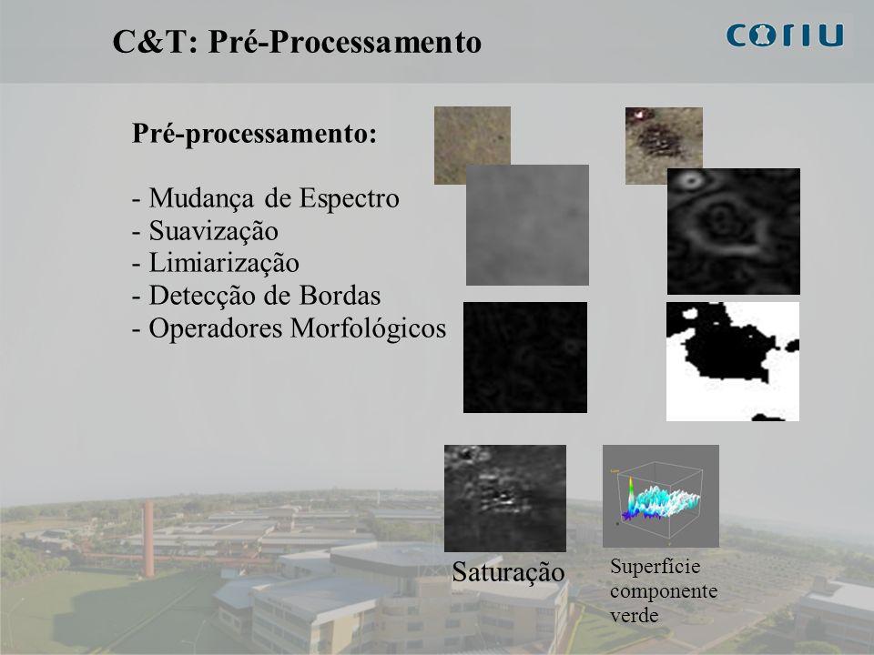 7 C&T: Pré-Processamento Pré-processamento: - Mudança de Espectro - Suavização - Limiarização - Detecção de Bordas - Operadores Morfológicos Saturação