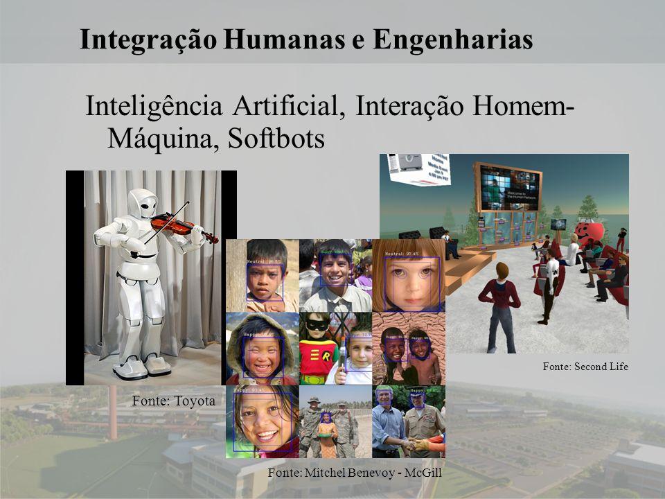 16 Integração Humanas e Engenharias Inteligência Artificial, Interação Homem- Máquina, Softbots Fonte: Toyota Fonte: Second Life Fonte: Mitchel Benevoy - McGill