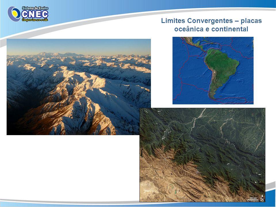 Limites Convergentes – placas oceânica e continental