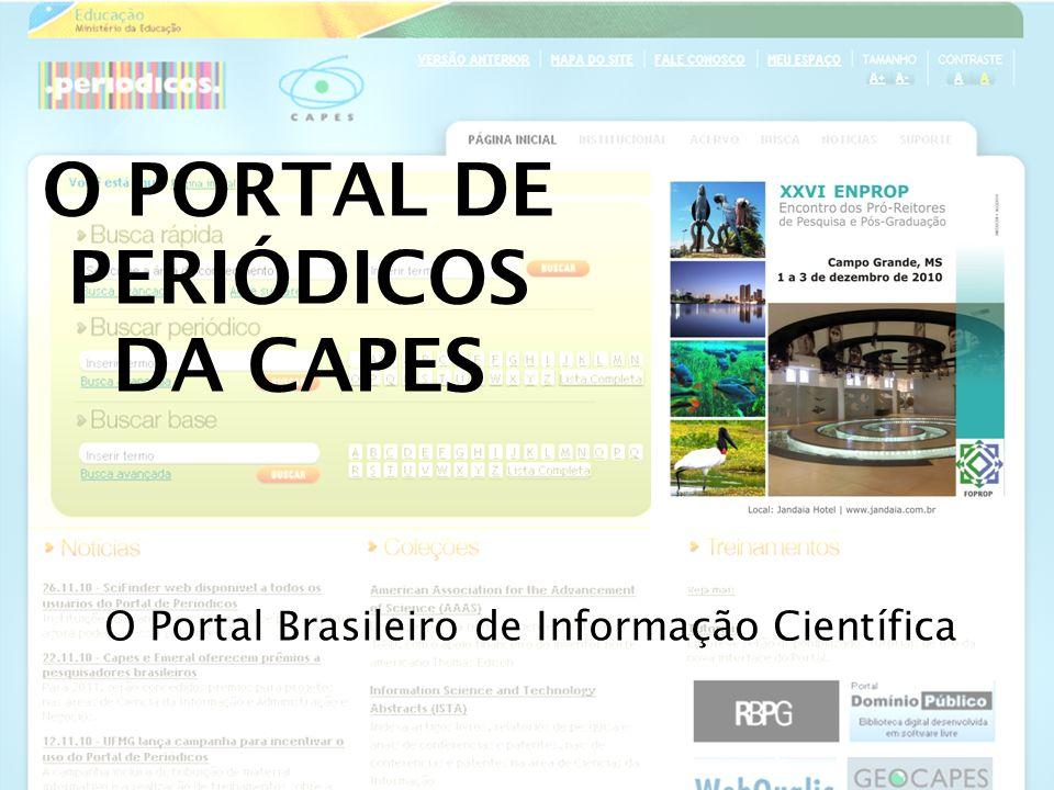 Estão disponíveis no Portal: Mais de 25 mil periódicos com texto completo; 130 bases referenciais; 9 bases de patentes; Mais de 150 mil e-books; Teses e dissertações; Bases de estatísticas, normas técnicas, obras de referência e conteúdo audiovisual.