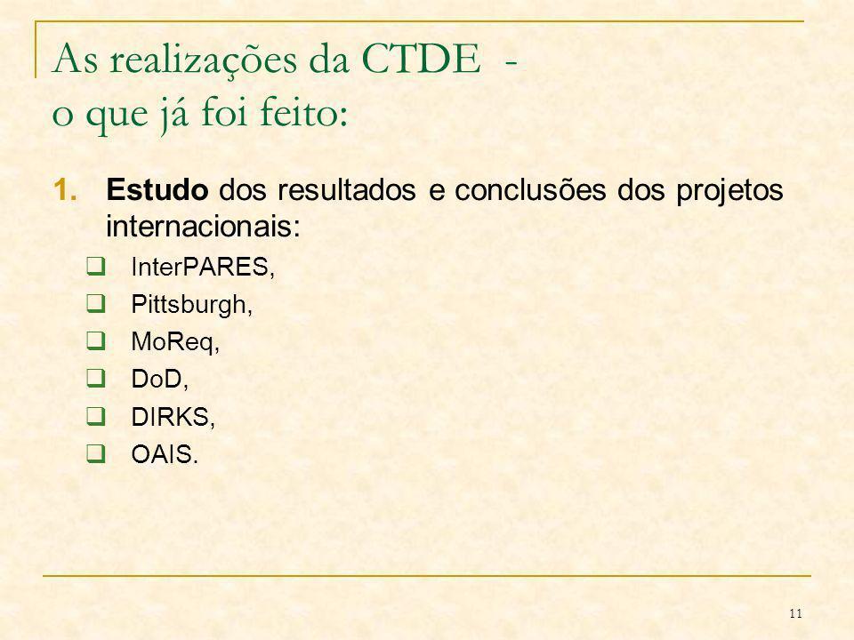 11 As realizações da CTDE - o que já foi feito: 1.Estudo dos resultados e conclusões dos projetos internacionais: InterPARES, Pittsburgh, MoReq, DoD,