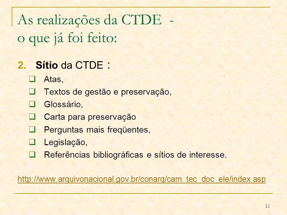 12 As realizações da CTDE - o que já foi feito: 2.Sítio da CTDE : Atas, Textos de gestão e preservação, Glossário, Carta para preservação Perguntas ma