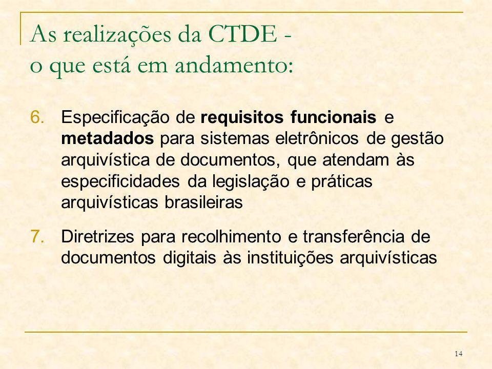 14 As realizações da CTDE - o que está em andamento: 6.Especificação de requisitos funcionais e metadados para sistemas eletrônicos de gestão arquivís