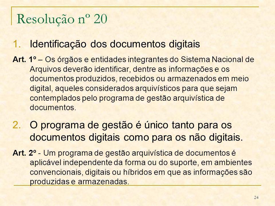24 Resolução nº 20 1.Identificação dos documentos digitais Art. 1º – Os órgãos e entidades integrantes do Sistema Nacional de Arquivos deverão identif