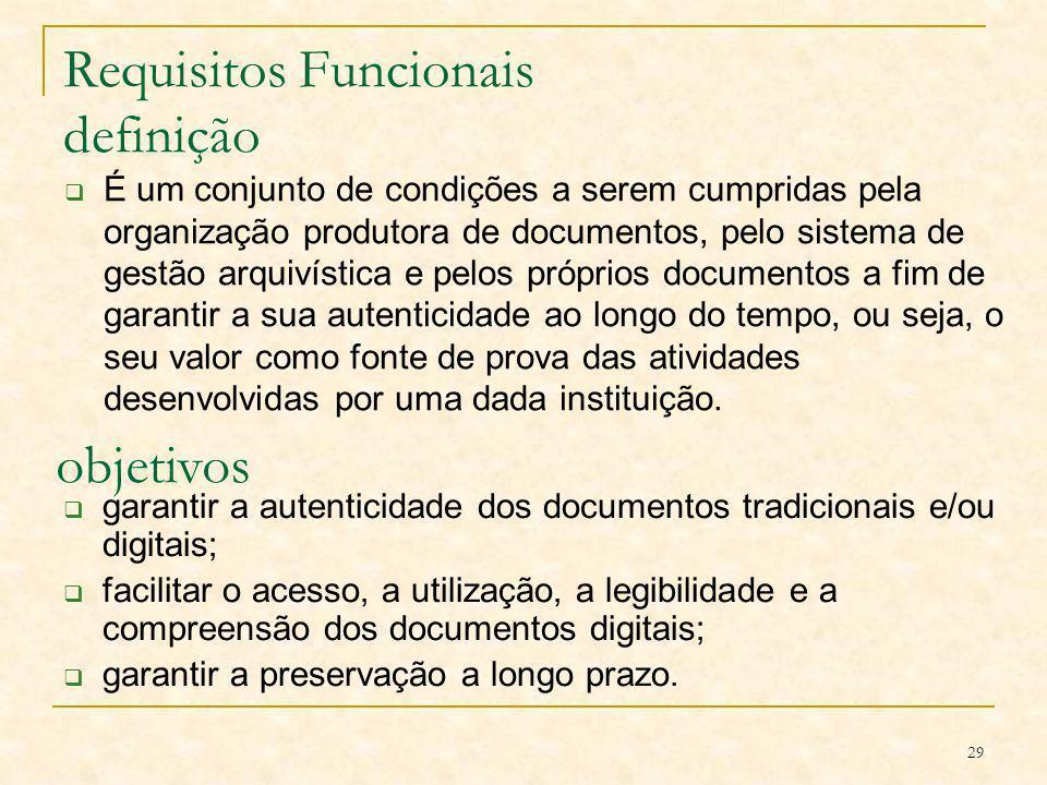 29 Requisitos Funcionais definição É um conjunto de condições a serem cumpridas pela organização produtora de documentos, pelo sistema de gestão arqui