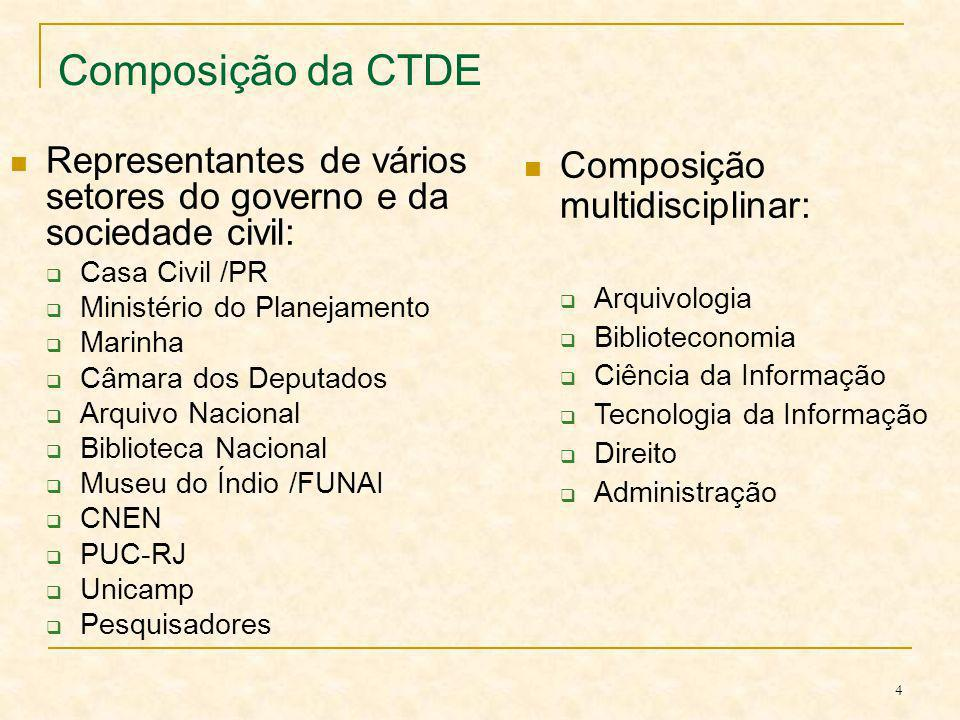 4 Composição da CTDE Representantes de vários setores do governo e da sociedade civil: Casa Civil /PR Ministério do Planejamento Marinha Câmara dos De