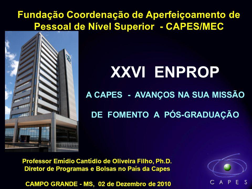Fundação Coordenação de Aperfeiçoamento de Pessoal de Nível Superior - CAPES/MEC Professor Emídio Cantídio de Oliveira Filho, Ph.D. Diretor de Program