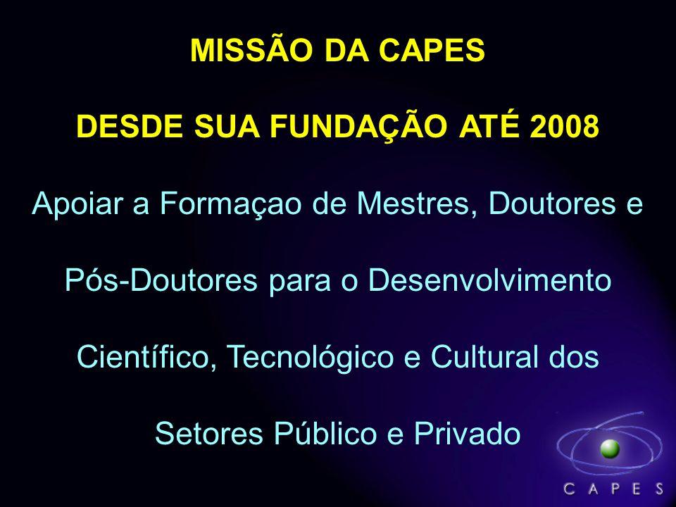 MISSÃO DA CAPES DESDE SUA FUNDAÇÃO ATÉ 2008 Apoiar a Formaçao de Mestres, Doutores e Pós-Doutores para o Desenvolvimento Científico, Tecnológico e Cul