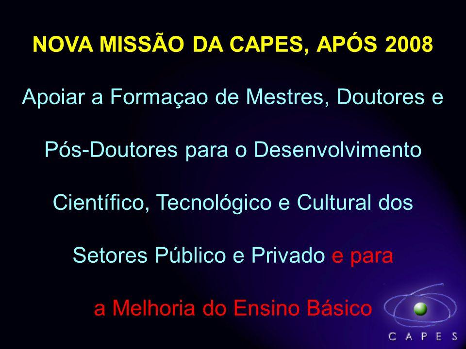 NOVA MISSÃO DA CAPES, APÓS 2008 Apoiar a Formaçao de Mestres, Doutores e Pós-Doutores para o Desenvolvimento Científico, Tecnológico e Cultural dos Setores Público e Privado e para a Melhoria do Ensino Básico