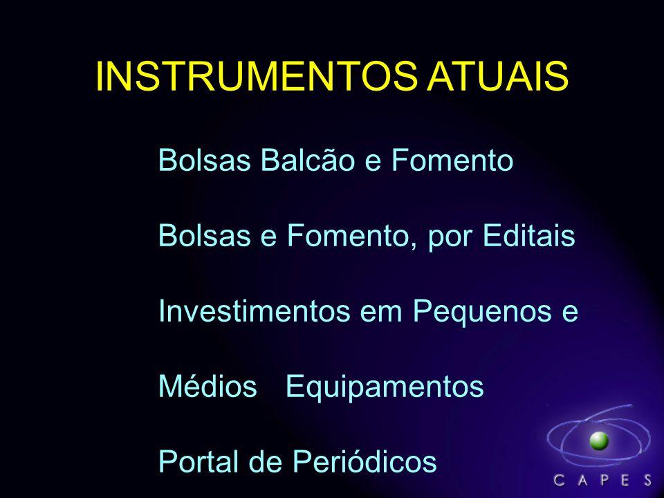 INSTRUMENTOS ATUAIS Bolsas Balcão e Fomento Bolsas e Fomento, por Editais Investimentos em Pequenos e Médios Equipamentos Portal de Periódicos
