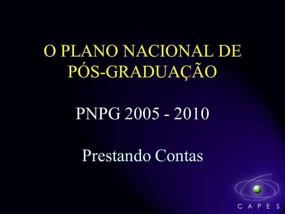 O PLANO NACIONAL DE PÓS-GRADUAÇÃO PNPG 2005 - 2010 Prestando Contas