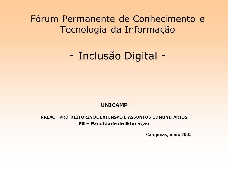Fórum Permanente de Conhecimento e Tecnologia da Informação - Inclusão Digital - UNICAMP PREAC - PRÓ-REITORIA DE EXTENSÃO E ASSUNTOS COMUNITÁRIOS FE –