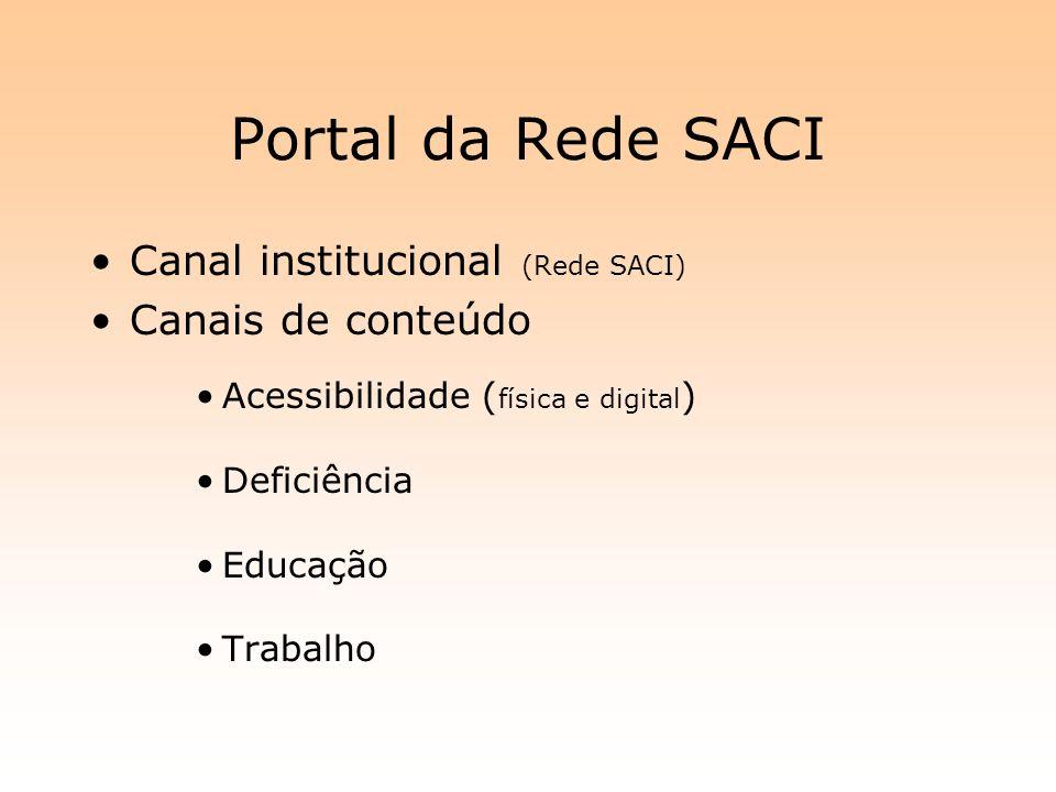 Portal da Rede SACI Canal institucional (Rede SACI) Canais de conteúdo Acessibilidade ( física e digital ) Deficiência Educação Trabalho