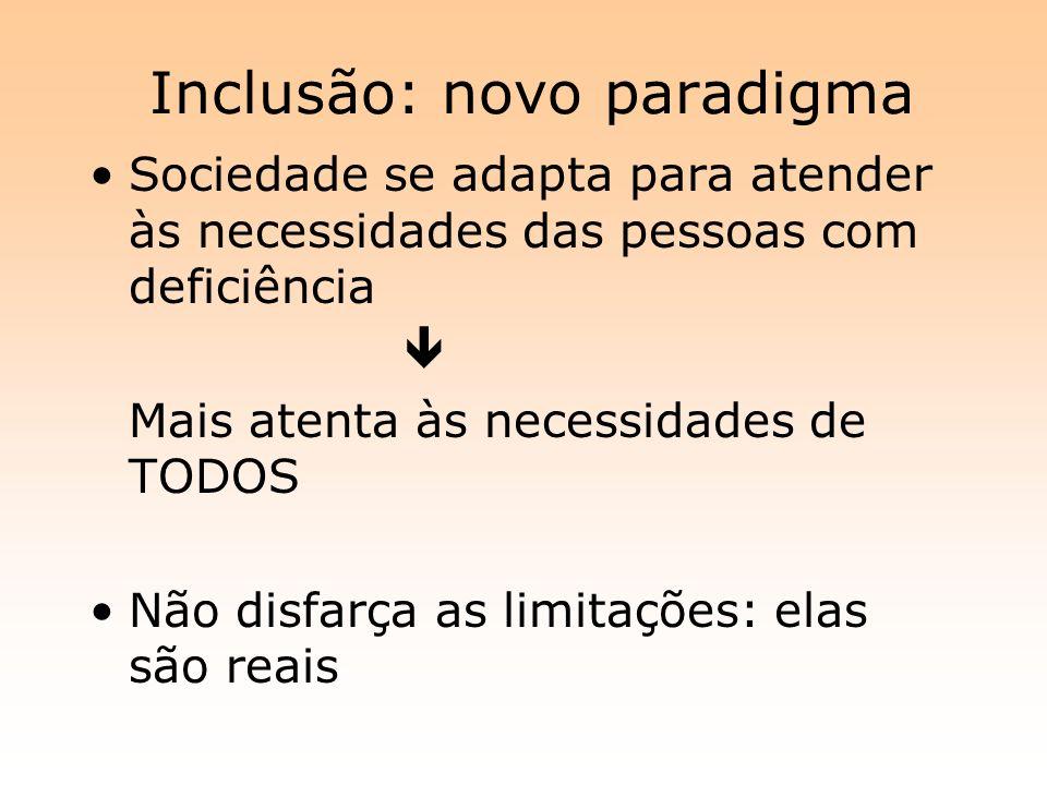 Inclusão: novo paradigma Sociedade se adapta para atender às necessidades das pessoas com deficiência Mais atenta às necessidades de TODOS Não disfarç